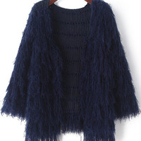 Navy Long Sleeve Fringed Knit Cardigan