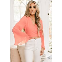 All I Could Want Tie Front Pleated Top (Coral)
