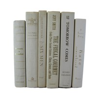 White Decorative Book Set Curated with Vintage Books, S/6