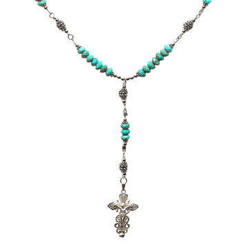 """Sterling Silver 7 Sorrows Rosary Necklace Turquoise 6mm, Silver Crucifix, 17"""""""