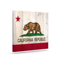 """Bruce Stanfield """"California Flag Wood"""" Brown Canvas Art"""