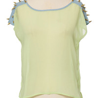 Spiked Sheer Blouse