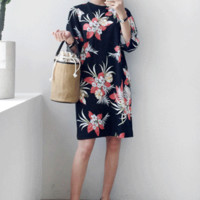 Floral 7/8 Sleeve Shift Dress