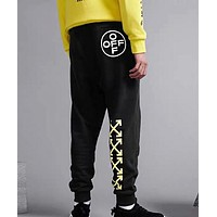 Off White New fashion letter arrow print couple pants Black