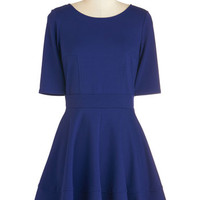 ModCloth Mid-length Short Sleeves A-line Dote Worry About It Dress in Navy