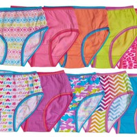 10-Pack 100%  Cotton Colorful Hearts Briefs Panties (Multi Color)