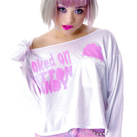 High Heels Suicide Hooked On Cotton Candy Long Sleep Crop Top White One