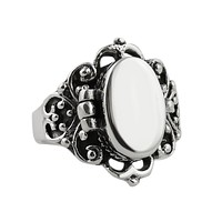 Victorian Scroll Poison Pill Sterling Silver Ring