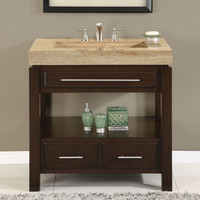 36 Inch Single Bathroom Vanity Set With Travertine Stone Top & Sink