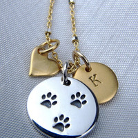ON SALE Dog Paw Print Charm Necklace / Heart Charm Necklace / Initial Charm Necklace