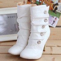 Women's Winter Sexy Style PU Boots Ladies lovely Fashion Snow Shoes Motorcycle Boots