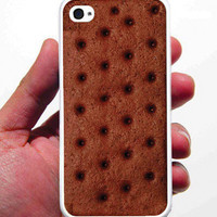 Ice Cream Sandwhich iPhone Case - Rubber Silicone iPhone 4 Case or Plastic iPhone 5 Case - Free Screen Protector Included