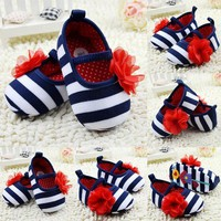 Girls Outdoors Shoes Toddler Stripe Crib Soft Sole Kid