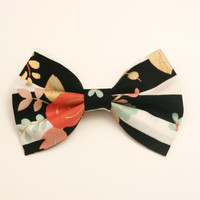 Floral Striped Hair Bow  • Metallic Bow • Flower Hairbow • Girls Bow  • Stripped Flower Bow • Cotton Hair Bow • Handmade Bow • Gold Rose Bow