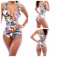 Sexy Women High Waist Bikini Set Bandage Monokini Swimwear Swimsuit Bathing Suit