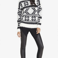 FUZZY AZTEC TUNIC SWEATER from EXPRESS