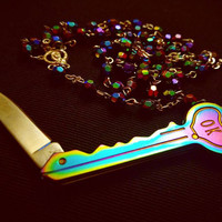 IRIDESCENT ROSARY w/ KEY pocket knife rainbow funeral funerary victorian vintage style gothic memento mori necklace goth pendant
