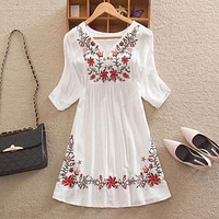 Maternity Comfortable Embroidered Cotton A-Line Dress Top