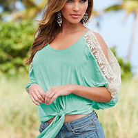 Green Lace Patchwork Open Sleeve T-Shirt