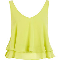 Lime double layered V neck crop top