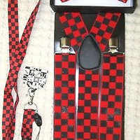 """Black&Red Checkers Bow tie,Black&Red Lanyard,& 1 1/2"""" B&R Checkered Suspenders-1"""