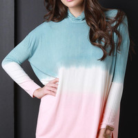 Ombre Turtle Neck Relaxed Top