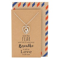Quinn Yoga Pose and Heart Pendant Necklace, Yoga Jewelry Gifts