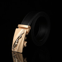 2016 New Brand Jaguar Designer Automatic Buckle Men's Belt Genuine Leather Belt Silver Golden Belts for Men
