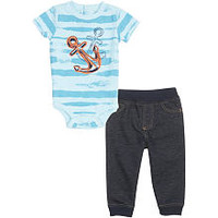 Koala Baby Boys' 2 Piece Short Sleeve Striped Bodysuit and Pants Playwear Set