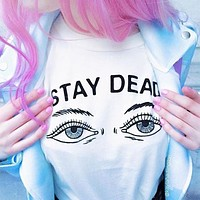 Fashion Casual Letter Eye Pattern Print Round Neck Short Sleeve Cotton T-shirt Tops