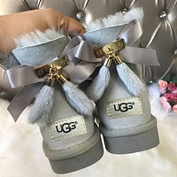 UGG New Hot Face Bowknot Fringed Low Top Mink Fur Women Boots Shoes-4