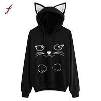harajuku hoodies for women Cat ear Long Sleeve Hoodie Sweatshirt Hooded Pullover Tops coat female clothes for girls moletom