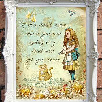 ALICE in WONDERLAND Decor Alice in Wonderland Quote Print Mad Hatter Tea Party Shabby Chic Decor. Have I gone Mad Alice Art print Code:A034