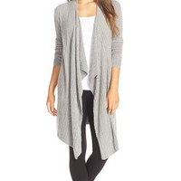 Barefoot Dreams® Cable Knit Drape Front Cardigan   Nordstrom