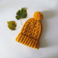 Cable Knit Hat in Yellow, Hand Knit Beanie with Folded Brim, Womens Pom Pom hat, Winter Accessories, Wool Blend, Gift For Her, Made to Order