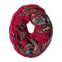 Scarfand's Romantic Floral Print Infinity Scarves (Paisley Gray)