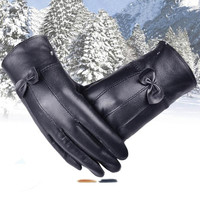 women fashion Gloves 2016 female gloves PU Leather Winter Super Warm Lady Gloves With Cashmere Bow Y10