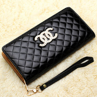 2015 New High-end European and American fashion brand lady candy colored clutch purse Quilted  women wallets CC bright skin  bag