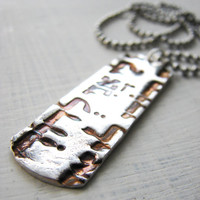 """Silver Hebrew Dog Tag Necklace """"Song of Solomon"""". Military Judaica. Grooms Wedding Gift"""