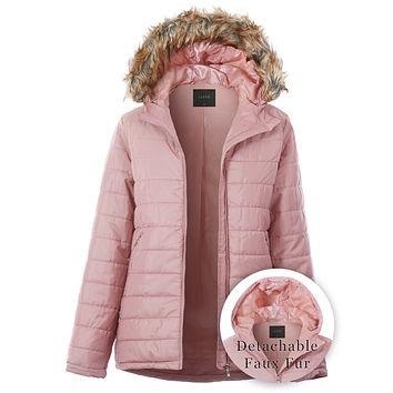 Long Quilted Zip Up Puffer Jacket with Detachable Faux Fur Hood (CLEARANCE)