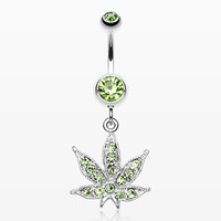 Marijuana Leaf Sparkle Belly Ring