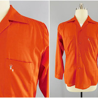 1960s Vintage / Arrow Decton Perma Iron / Dress Shirt / Crown Embroidered / Dark Orange / Size 42-44 / Fitted Waist / Long Sleeve
