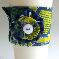 Owl Coffee Cup Cozy White & Blue Owls Drink Sleeve / Chartreuse