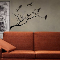 Birds and Tree Branch Nature Decal Sticker Wall Vinyl Art Home Room Decor