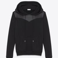 Saint Laurent Leather Yoke HOODED SWEATSHIRT IN BLACK FRENCH TERRYCLOTH AND Leather | ysl.com