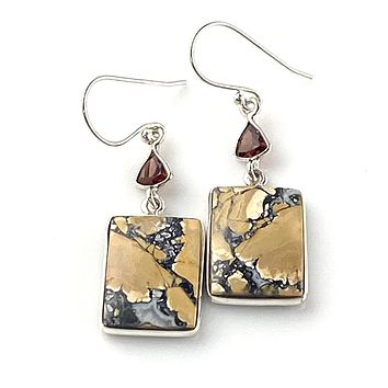 Maligano Jasper & Garnet Sterling Silver Earrings