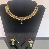 Oxidized Gold Plated Necklace Set