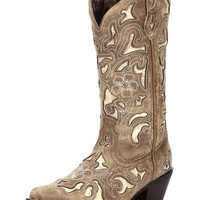 Laredo Crackle with Bone Tool Print Underlay Cowboy Boots - Tan