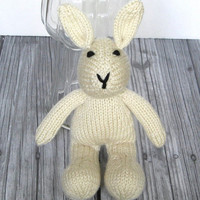 """Hand Knit Bunny Rabbit Stuffed Animal, Ready To Ship, Newborn Photo Prop, Boy or Girl Baby Toy, Baby Gift, Cream Ivory Knit Toy  10 1/2"""""""