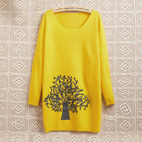 Yellow Christmas Tree Round Collar Knit Sweater